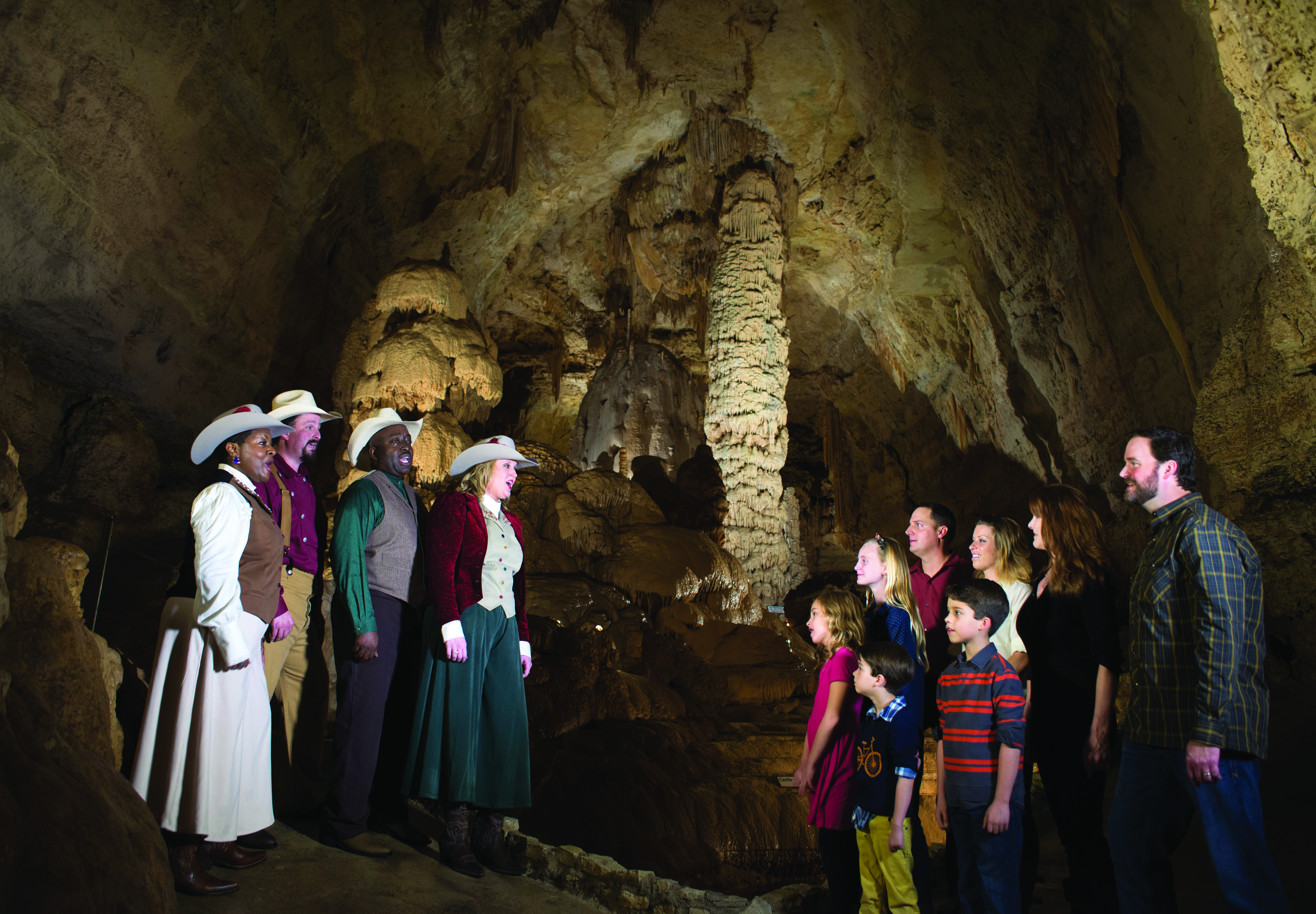 Choir sings at Christmas in the Caverns.