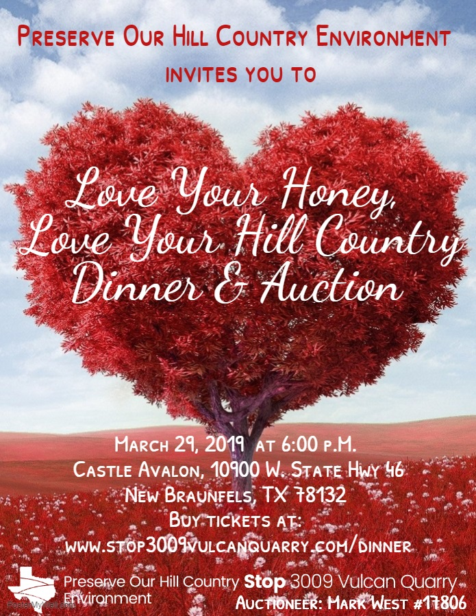 flyer for Love Your Honey Love YOur Hill Country Dinner & Auction
