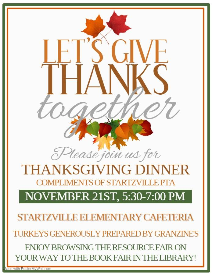 Startzville PTA Thanksgiving Dinner